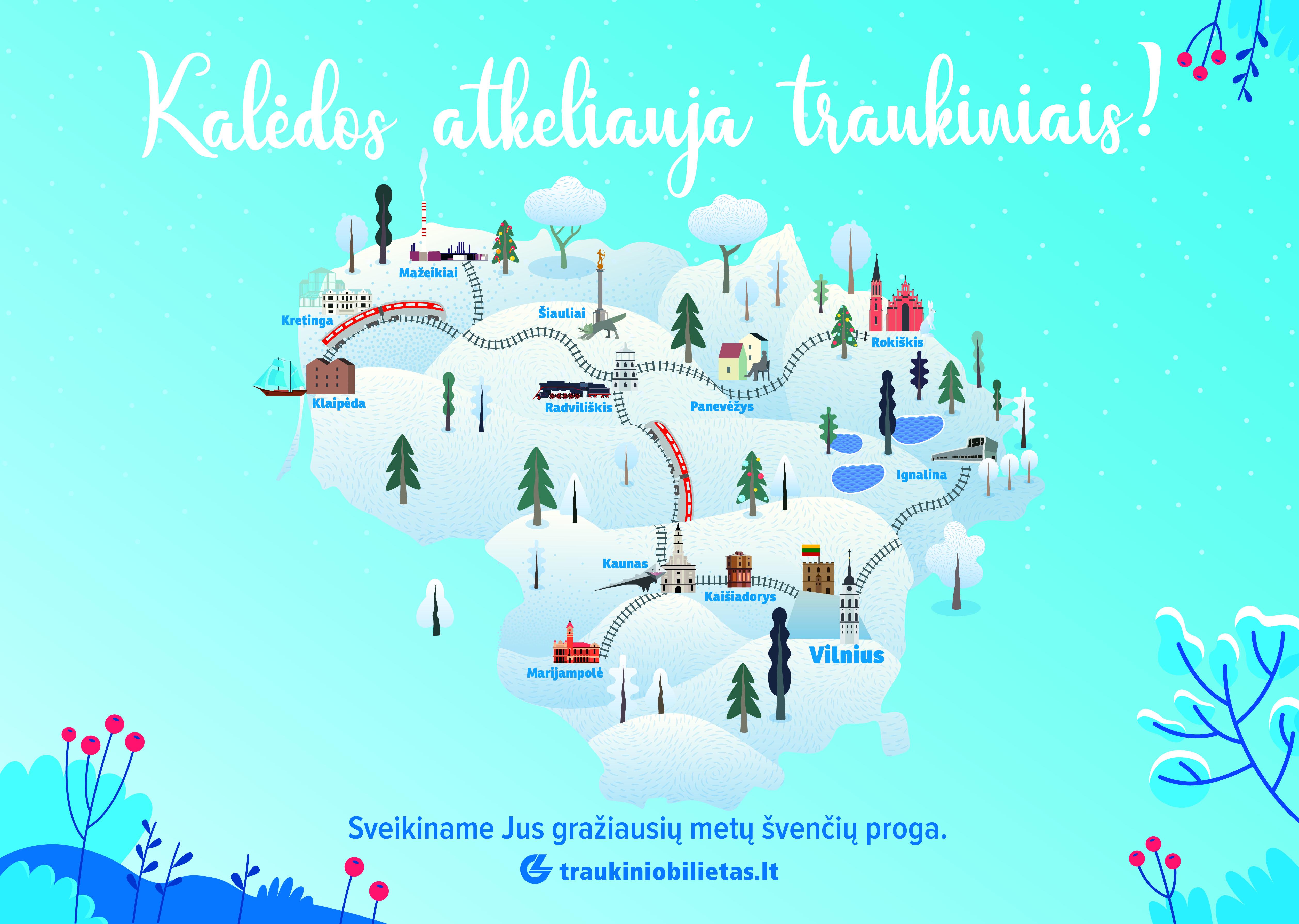 Kalėdos atkeliauja traukiniais: interaktyvus žaidimas ir magiška Kalėdų senelio rezidencija Vilniaus geležinkelio stotyje